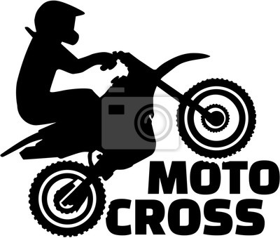 Motocross silueta con la palabra