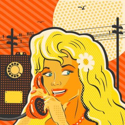Póster Muchacha del estilo del arte pop con el teléfono