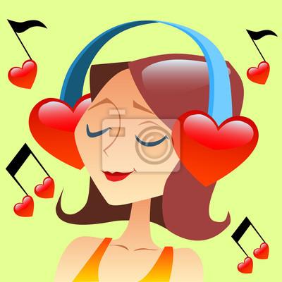 Muchacha que escucha la música con los auriculares en la forma de un hea roja