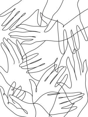 Póster Muchas manos línea de dibujo de arte.