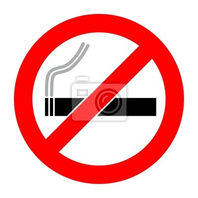 Muestra de no fumadores en el fondo blanco