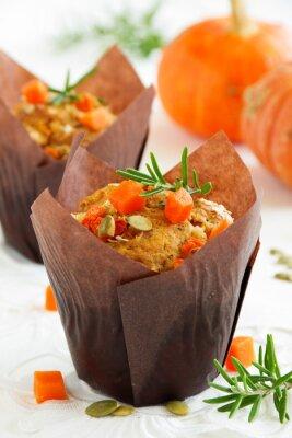 Póster Muffins de calabaza con romero y semillas.