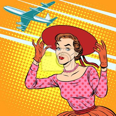 Mujer, aeropuerto, viaje