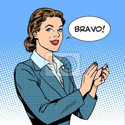 Mujer aplausos concepto bravo del éxito