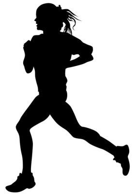 Póster Mujer atletas en la carrera de carrera sobre fondo blanco