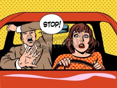 Póster Mujer, conductor, conducción, escuela, pánico, tranquilo, retro, estilo, estallido. Coche y transporte