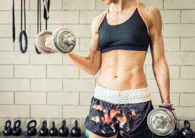 Póster mujer del ajuste que la formación bíceps