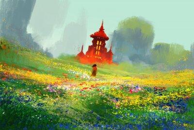 Póster Mujer en campos de flores junto al castillo rojo y la montaña, ilustración de la pintura