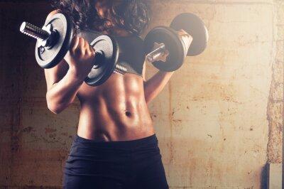 Póster Mujer fuerte entrenamiento de cuerpo