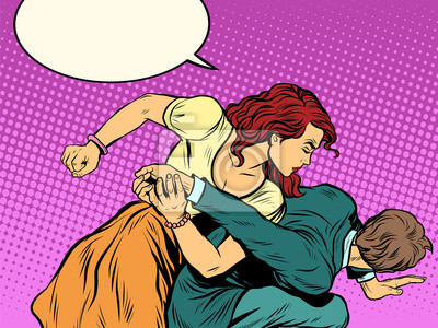 Mujer, golpes, hombre, lucha