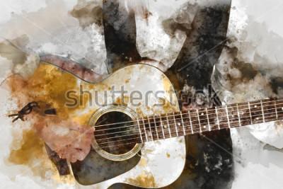 Póster Mujer hermosa abstracta que toca al guitarrista en el primer plano. Primer plano, fondo de acuarela y pincel de ilustración digital para arte.