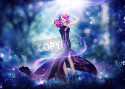Póster Mujer hermosa de hadas de la fantasía, retrato del arte de la manera