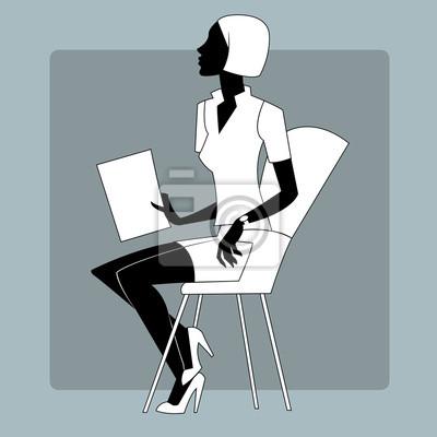 Mujer joven en una hoja de papel de rueda