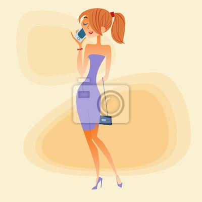 Mujer joven hablando por el teléfono