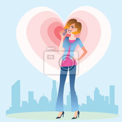 Mujer joven que habla en el corazón del teléfono