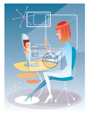 Mujer joven que habla en el equipo con el joven futuristi