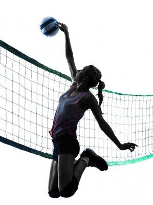 Póster Mujer jugadores de voleibol aislado silueta