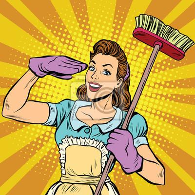 Mujer, limpieza, limpieza, empresa, pop, arte, retro