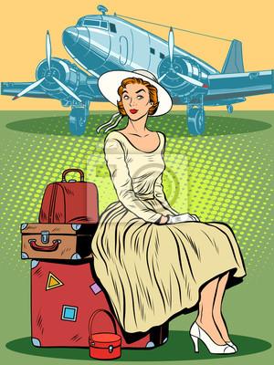 Mujer pasajeros aeropuerto equipaje