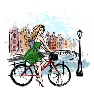 Póster Mujer que conduce la bicicleta