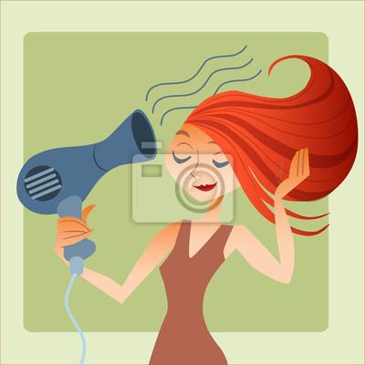 mujer se seca el pelo