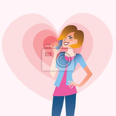 Mujer sonriente joven que habla en el corazón del teléfono
