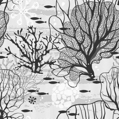 Póster Mundo submarino. Patrón de vectores sin fisuras con plantas y peces marinos