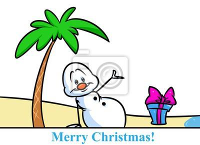 Muñeco De Nieve De Navidad De Vacaciones De Playa De Carácter