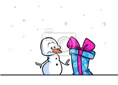 Muñeco De Nieve De Navidad Personaje De Dibujos Animados De Regalo