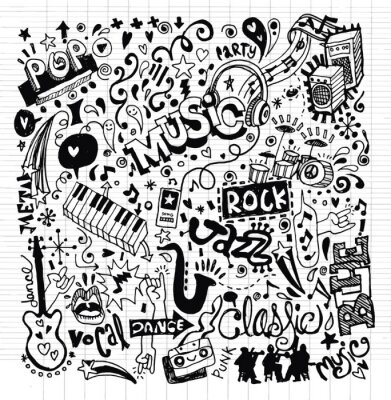 Póster Music Background ,Hand drawing Doodle