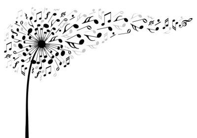 Póster music dandelion flower, vector illustration