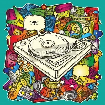 Póster Música de fondo de color