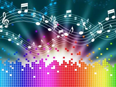 Póster Música del arco iris de fondo Significa Singing Melody Y Soundwaves.