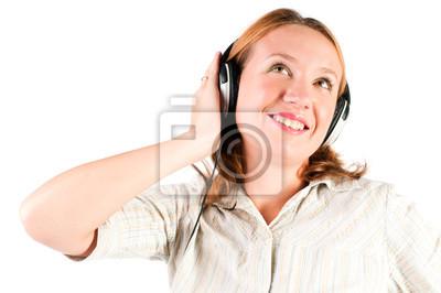 Música escucha de la mujer hermosa