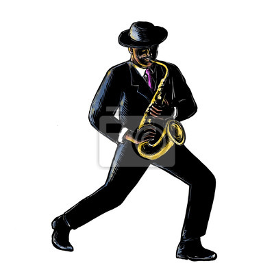 Músico de jazz tocando Scratchboard de saxofón