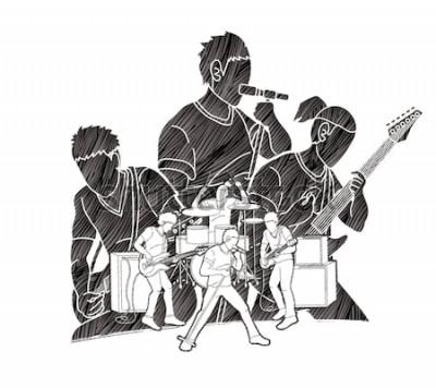 Póster Músico tocando música juntos, banda de música, artista gráfico vectorial