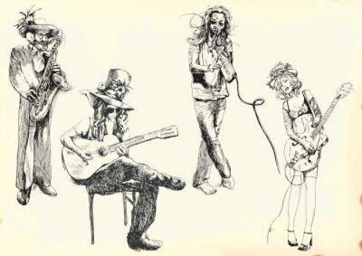 Póster músicos - colección de dibujos a mano en el vector