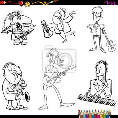 Músicos página para colorear de dibujos animados carteles para la ...
