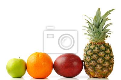 naranja verde manzana, piña y mango