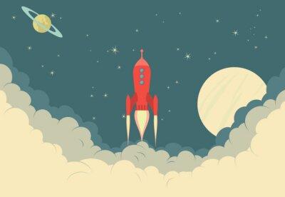 Póster Nave espacial de Rocket retro