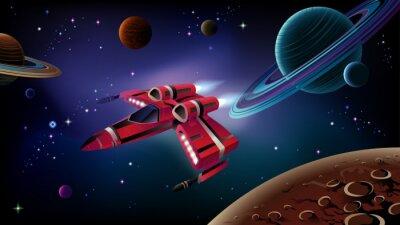 Póster Nave espacial, planetas y el espacio.
