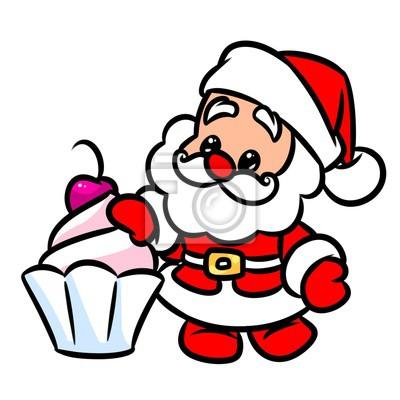 Imagenes De Papa Noel Animado.Poster Navidad Papa Noel Pastel Cereza Ilustracion De Dibujos Animados