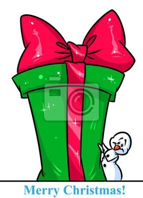 Dibujos De Navidad Regalos.Poster Navidad Personaje De Muneco De Nieve Gran Caja De Regalos Ilustracion
