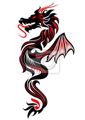 Negro Y Rojo Dragón Tribal Ilustración Tatuaje Vector Carteles Para
