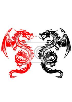 Negro Y Rojo Tribal Dragón Tatuaje Ilustración Vectorial Carteles