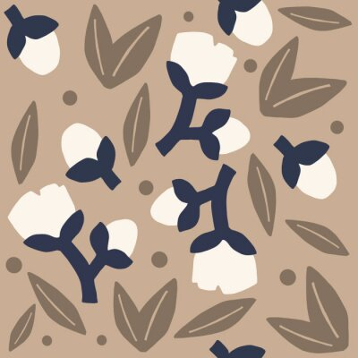 Póster neutral colored floral pattern. Brown bold flowers or cotton neutral seamless repeat pattern. Bold, modern simple seamless repeat pattern.