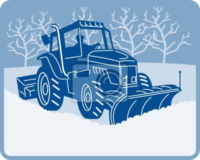 Nieve arado tractor arando escena de invierno