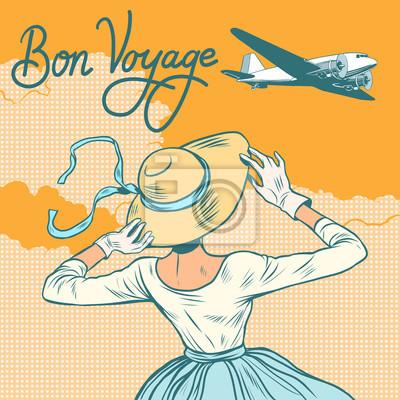 Niña avión de pasajeros Bon voyage