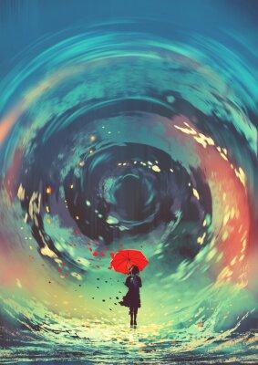 Póster niña con paraguas rojo hace un remolino de agua en el cielo, estilo de arte digital, ilustración pintura