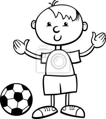 Niño Con Pelota Para Colorear De Dibujos Animados Carteles Para La